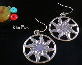 Sun Dance Sterling Silver  Earrings 1 1/2 inch by 1 1/4 inch - light weight - two sided solar earrings by Kim Fox