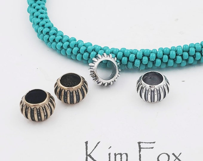 KF453 Pair of Melon Shaped Big Hole Beads in Silver and Bronze designed by Kim Fox