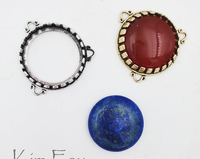 KF450 25mm Bezel with Loops in Bronze or Sterling Silver that is meant as a clasp and pendant. Designed by Kim Fox