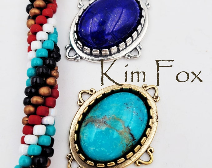 KFP456 18x25 Bail adaptable to be used as a pendant, element, clasp or connector. Designed by Kim Fox  and made in silver or golden bronze.