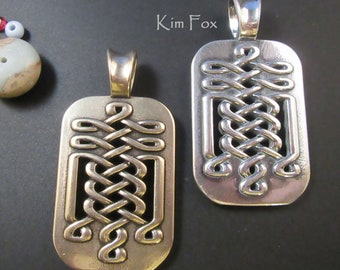 Celtic Tabular Pendant suitable for Men or Women in Sterling Silver or Golden Bronze - Two Sided - 2 1/8 by 1 1/8 inches or 55 by 30 mm