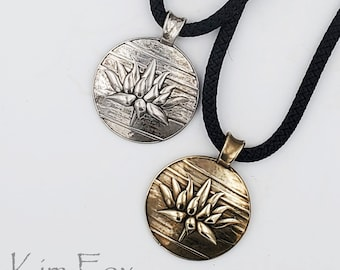 KFP372 Lotus Pendant in Silver& Bronze designed by Kim Fox 2 X 1 1/2 inches or 50 by 41 mm. Textural and dimensional with large bail.