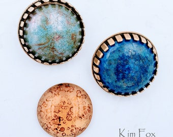 KF451 25mm Bezel with Hooks in Bronze or Sterling Silver that can be used as a clasp, connector or pendant. Designed by Kim Fox