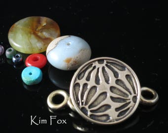 KF352 Asian Style Removable HOOK Clasp in Silver or Golden Bronze designed by Kim Fox - Depicting Flower Petals in a Round Shape
