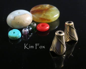 KF220 A Pair of Small Twig Patterned Tapered Cone pair in Golden Bronze or Sterling Silver designed by Kim Fox