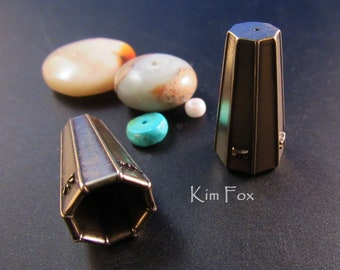 KF376 Octagon Deco Cones in Golden Bronze and Sterling Silver designed by Kim Fox
