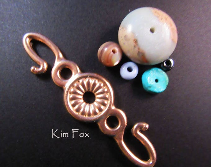Featured listing image: Rosette Hook for connecting cords, chain, chain mail. Two sided in bronze and sterling silver designed by Kim Fox