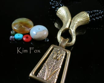 KF329 Magnetic Clasp/Cone/Bail Combination by Kim Fox in Golden and White Bronze with Bark Texture