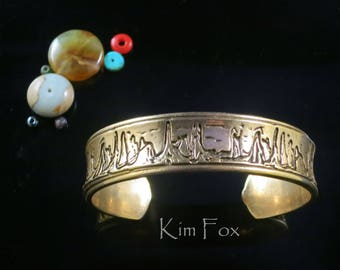 KFB45 Sedona Love Cuff in Golden Bronze oval shape - Comfortable and substantial cuff designed from Sedona skyline. Designed by Kim Fox