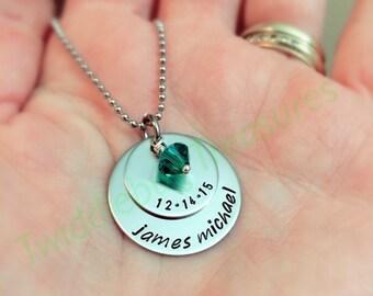 Mommy Necklace - Children Necklace - Birthdate Necklace - New Mommy - Hand Stamped Name & Date Necklace