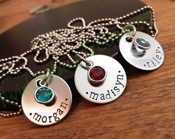 Hand Stamped Name Necklace - Stainless Steel - Birthstone Necklace - Daughter Necklace
