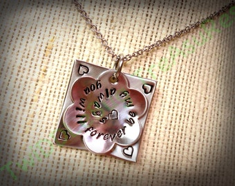 Flower Necklace - Mommy Necklace - Personalized Necklace - Stainless Steel - Hand Stamped Necklace
