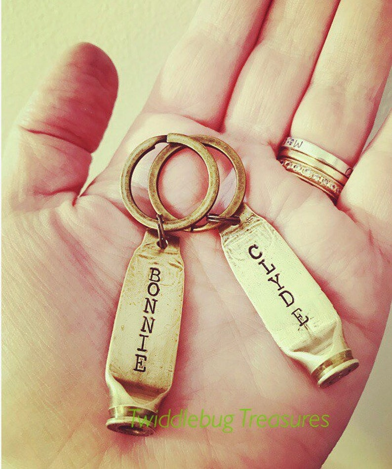 Bullet Keychain Best Friends Husband and Wife Bonnie and Clyde Keychain Keychain Set