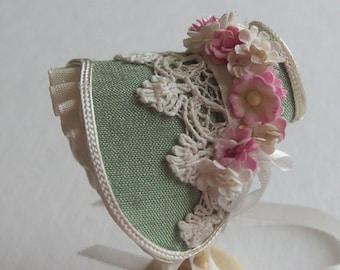 Handmade 1/12th scale dollshouse beautiful green silk bonnet