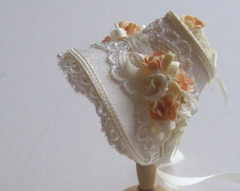 Handmade 1/12 miniature dollshouse narrow ivory bonnet