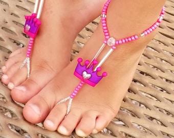 Child Barefoot Sandals Happi Feet Handmade Pair Purple and Pink Princess Crown HF702
