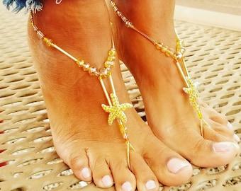 Gold Starfish - barefoot sandals - beach wedding barefoot sandals - bridal barefoot sandals - beach wedding - bride accessories - gold