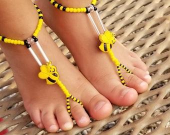 Child Barefoot Sandals Happi Feet Handmade Pair Black and Yellow Bumble Bees HF700