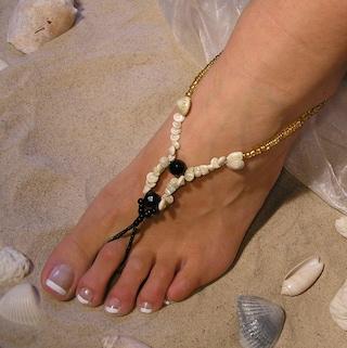 Black Onyx and Shells Barefoot Sandals Happi Feet Handmade Nude Shoes Beach Wedding Shoes BOHO Beach Wedding 5 Pair Package The Erica HF10
