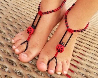 Child Barefoot Sandals Happi Feet Handmade Pair Black and Red Lady Bugs HF701