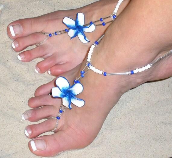 Et un pieds - chaussures de mariage plumeria pieds fleur - sandales aux pieds plumeria nus - plage, chaussures de mariage à destination - hawaïenne aux pieds nus - le HF102 hawaïen 6fd8bd
