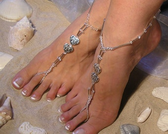 Barefoot Sandals Happi Feet Handmade Pair Nude Shoes with Antique Silver Plated Hearts Beach Wedding Shoes The Yvette HF3