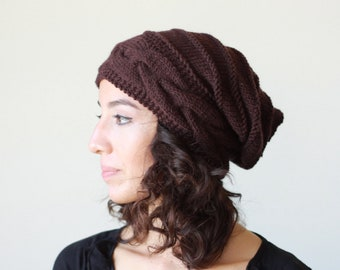 Brown slouch hat, Slouchy Beanie Hat, Woman Knit accessories, Beehive Spiral Fashion knitwear outfit - top selling items