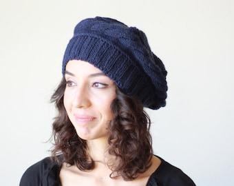df4d49f46e7 Navy Blue knit beret for women - Knit tuque hat - Tam