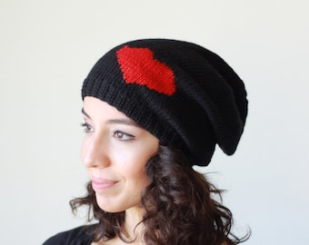 Black heart knit hat, Slouchy beanie women, Girlfriend gift, Ribbed Brim