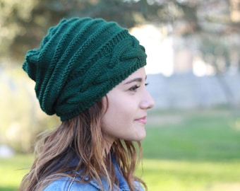 Emerald Green slouchy beanie women for winter, Hipster Hand knit hat for women in boho style, winter accessories