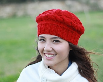 Red wool knit beret femme, French style, Slouchy hat
