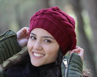 Burgundy women winter hand knit beret