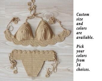 Lace crochet bralette bikini set, Crochet swimsuit, Boho swimwear, Crochet crop top and bottom, Handmade bikini, Custom order