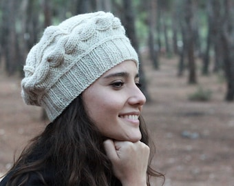 Homemade knit hat, Hand knit tam hat for women, Beige knit cap for ladies,  Cozy up