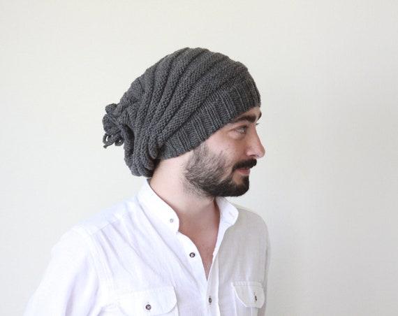 Men Slouchy beanie Grey knit slouch beanie men Hand knit men  b086e986fd9