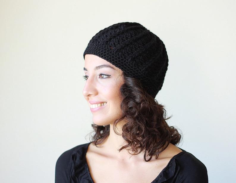 Hand crochet beanie Womens handmade cap Winter black hat for  6cfc1533c8