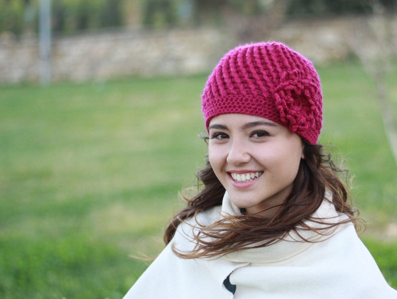 Magenta Beanie Hat With Flower Crochet Chemo Hat Women Etsy