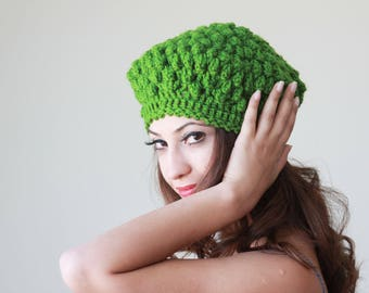Green crochet hat womens, Green crochet beanie women, Green winter hat, Green wool hat, Women green beanie, Green beret, Chunky hat