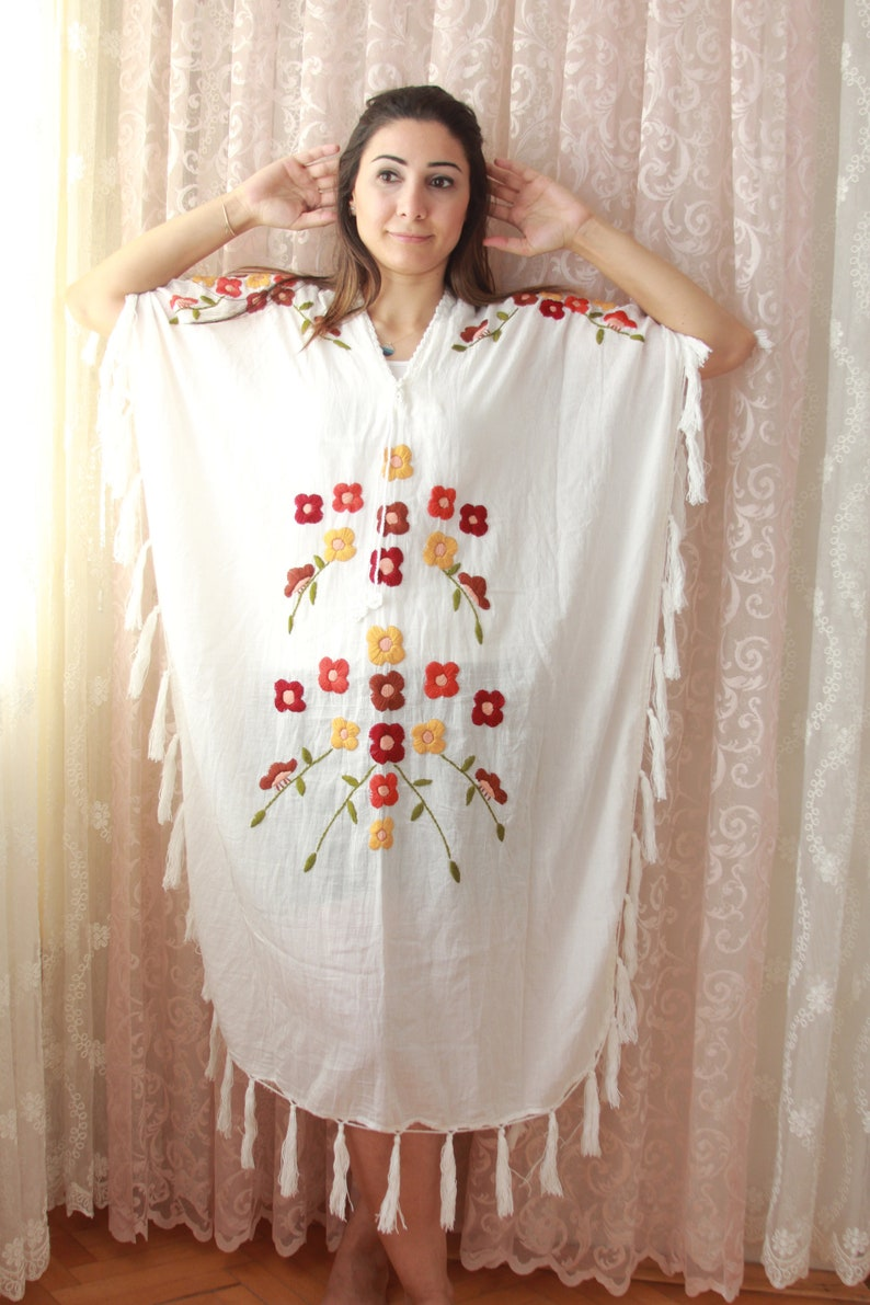 9fa0607b3 White hand embroidered kaftan maxi dress Summer boho kaftan   Etsy