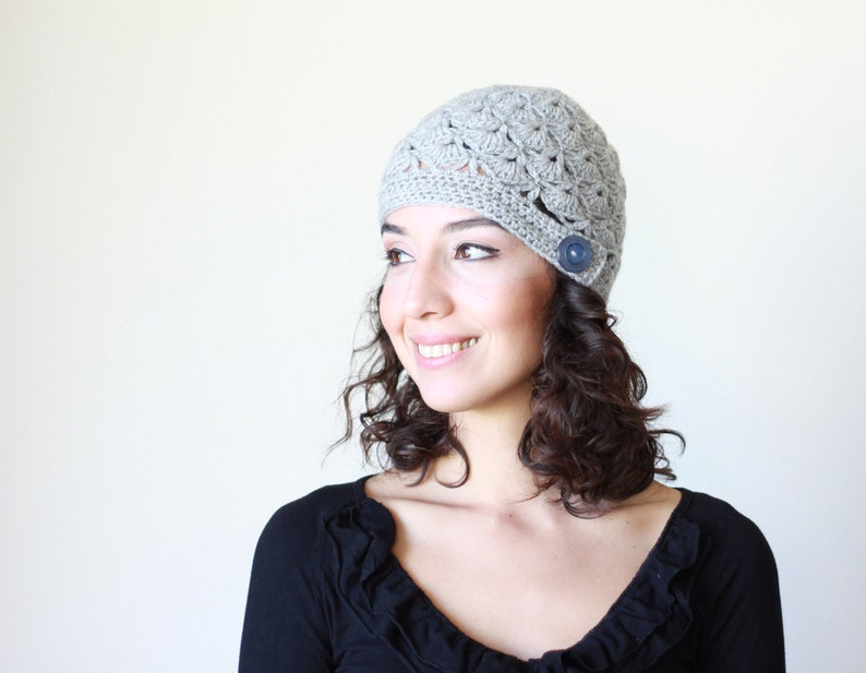 Gray winter hat with button Grey crochet beanie for women  083952562a6