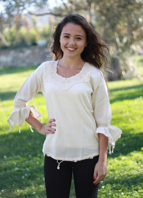 Women Cotton Blouses Cream Lace Cotton Top Women Cream Etsy