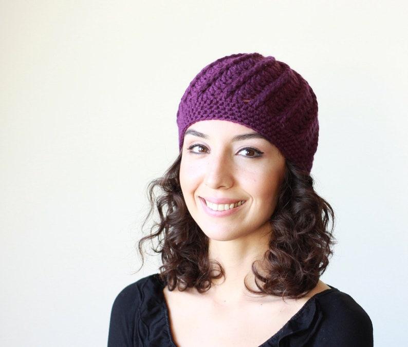 Women purple crochet winter beanie hat Ladies purple hat  bbc0309b82