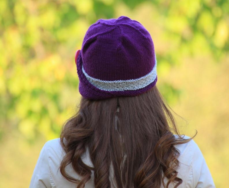Unique Ladies purple hat with button Knit accessories Lucy Hat Winter hat for women
