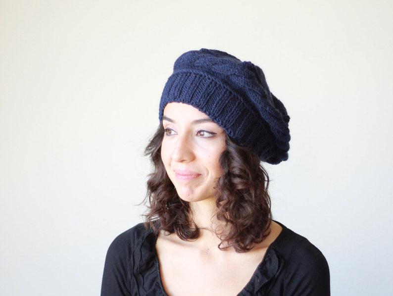 054653d0064 Navy Blue knit beret for women Knit tuque hat Tam Cable