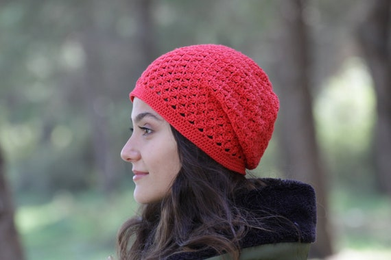 Cotton Crochet Chemo Cap In Red Color Women Summer Slouch Hat Etsy