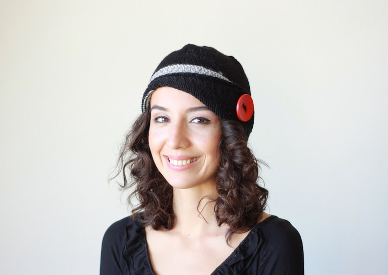 Ladies beanie with a red button Black and grey hand knit hat Black woolen hat women Knit accessories