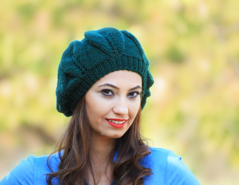 be3c5a1bb93 Hand knit beret Slouchy beanie hat for womens Emerald green