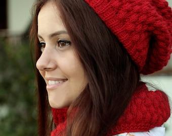 Women Hat Cowl Set, Matching Knit Cowl hat set, Red Cowl hat set, Matching set Cowl hat, Knit Matching hat Cowl set, Santa hat women blanket