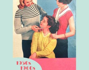 c4edef3a49 Sweater Trio - PDF download vintage knitting pattern set of three from the  1950s   1960s
