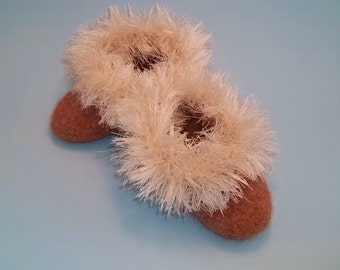 Childrens Size Fuzzy Wuzzy Felted Slippers, crochet pattern for Felted Child size slippers.